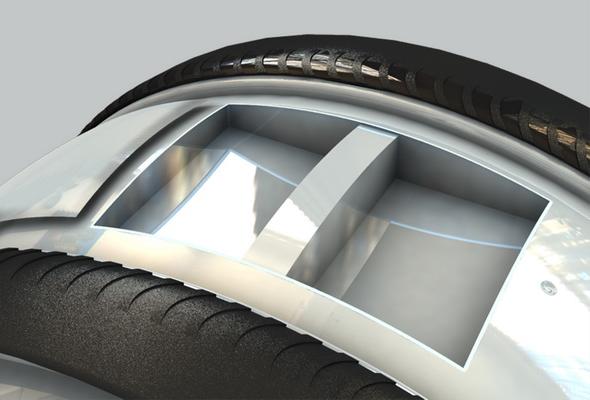 Вулканизированная резина — твёрдая и эластичная — для плавности хода и учшего сцепления с поверхностью.